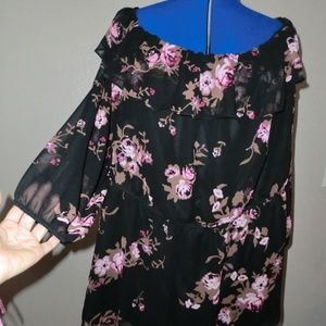Lane Bryant Size 28 Floral Blouse 3/4 Sleeves